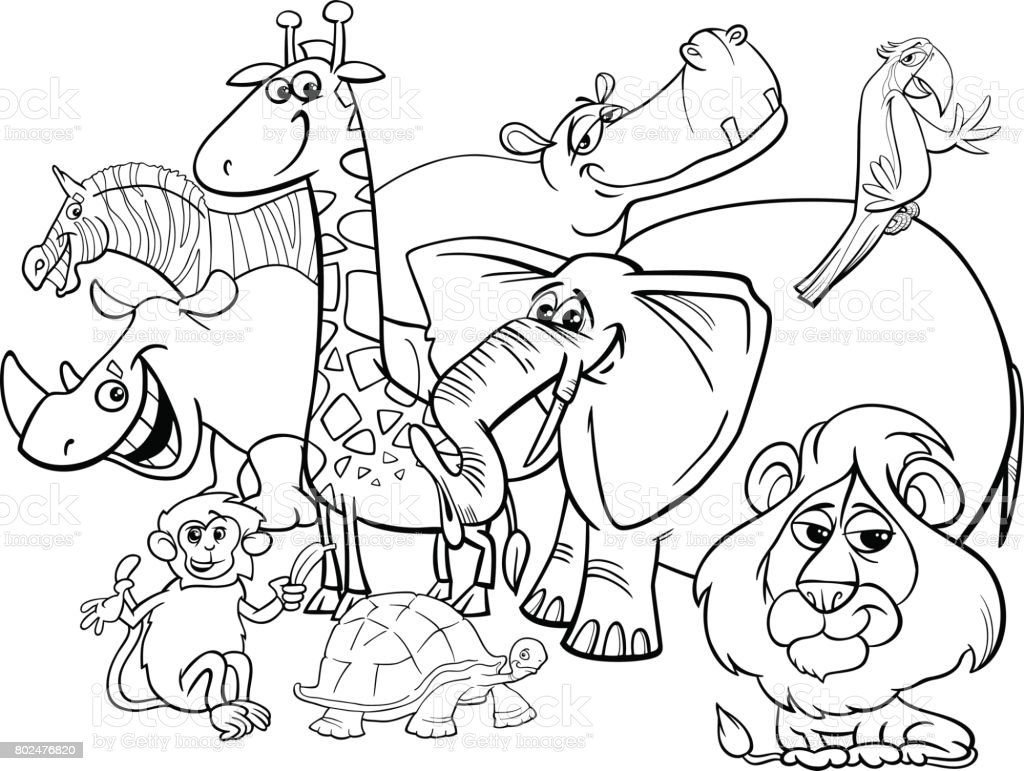 Cartoon Safari Animals Coloring Page Stock Illustration ...