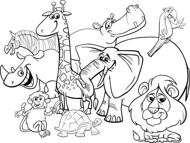 Cartoon Safari Animals Coloring Page Vector Art Illustration