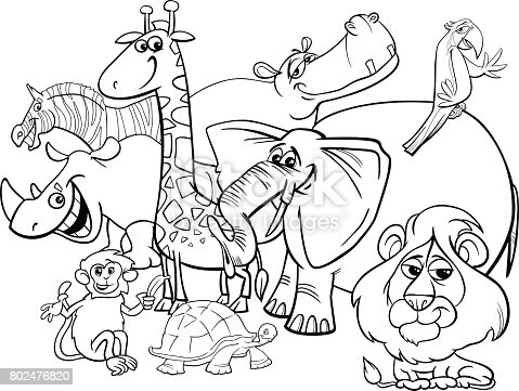 Cartoon Safari Animals Coloring Page Stock Vector Art ...