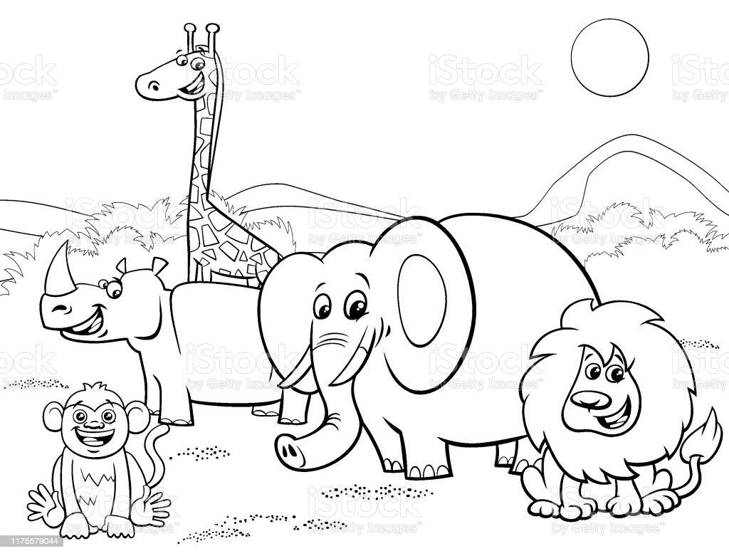 Ilustración De Dibujos Animados Animales De Safari Grupo Página Para Colorear Y Más Vectores Libres De Derechos De Alegre