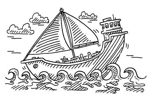 Cartoon Sailboat At Sea Drawing