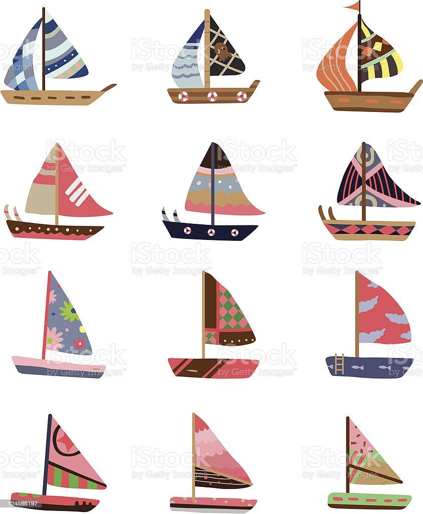 cartoon Sailboat icons set royalty-free stock vector art