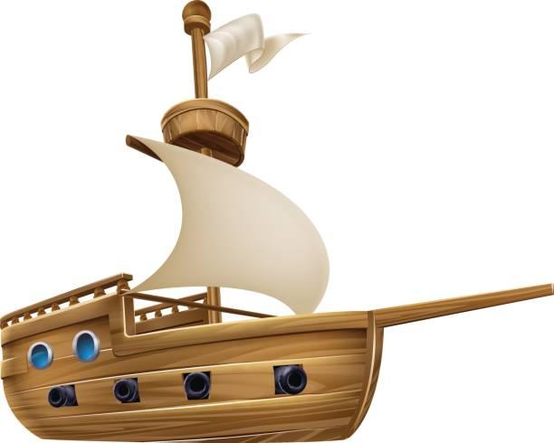 Cartoon Sailing Ship An illustration of a cartoon sailing ship boat pirate ship stock illustrations