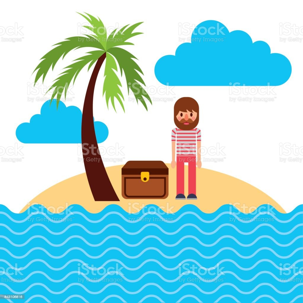cartoon sailor standing with treasure chest in beach tropical vector art illustration
