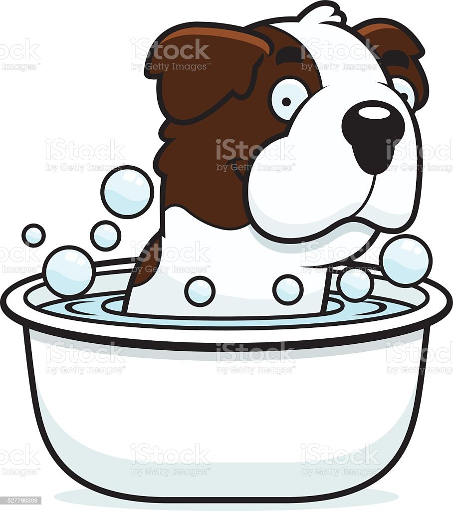 Cartoon Saint Bernard Bath vector art illustration