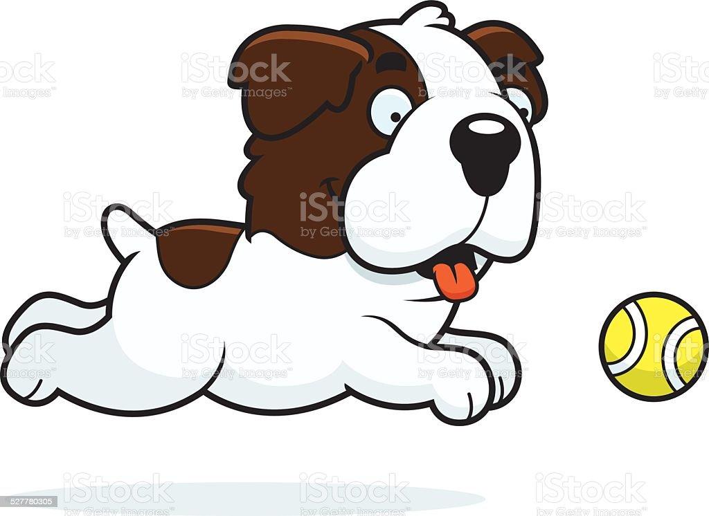 Cartoon Saint Bernard Chasing Ball vector art illustration