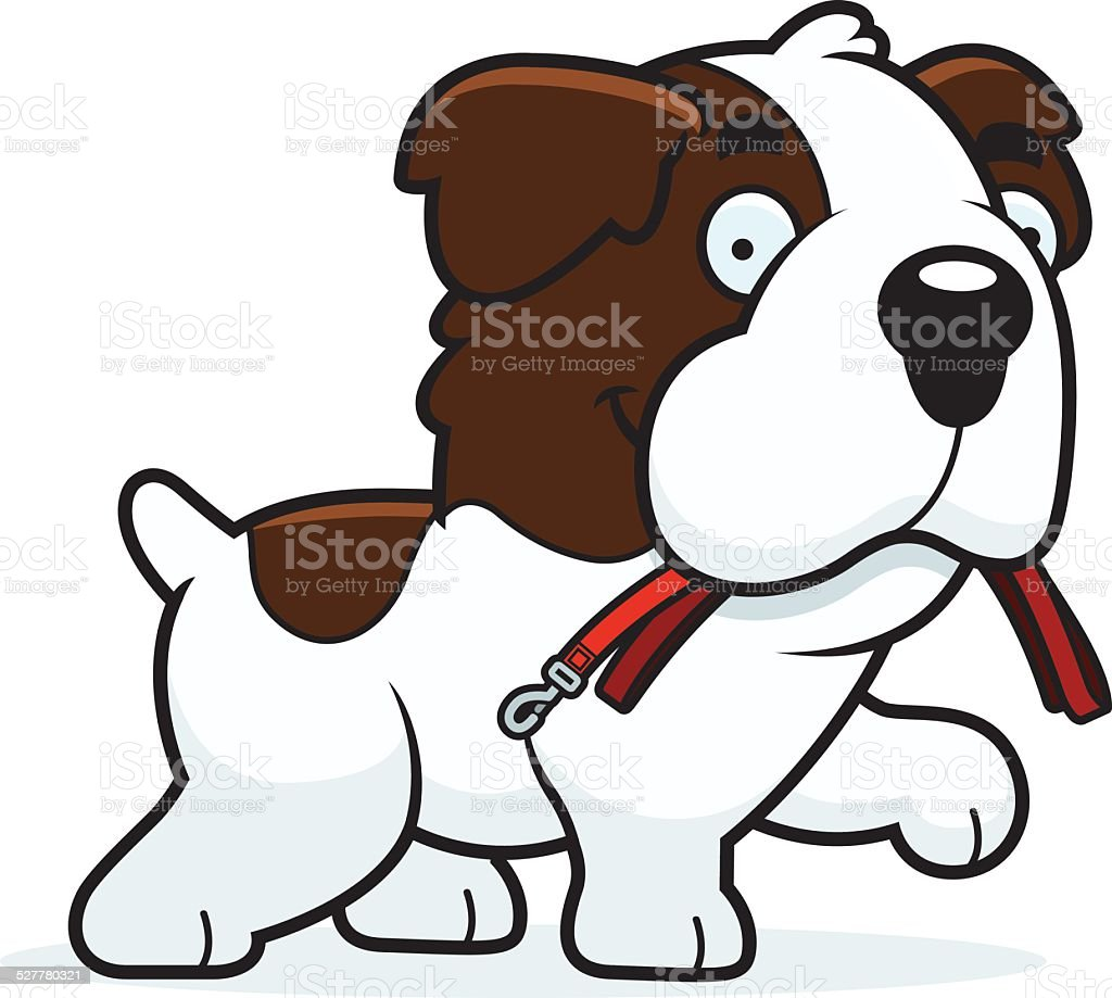 Cartoon Saint Bernard Leash vector art illustration