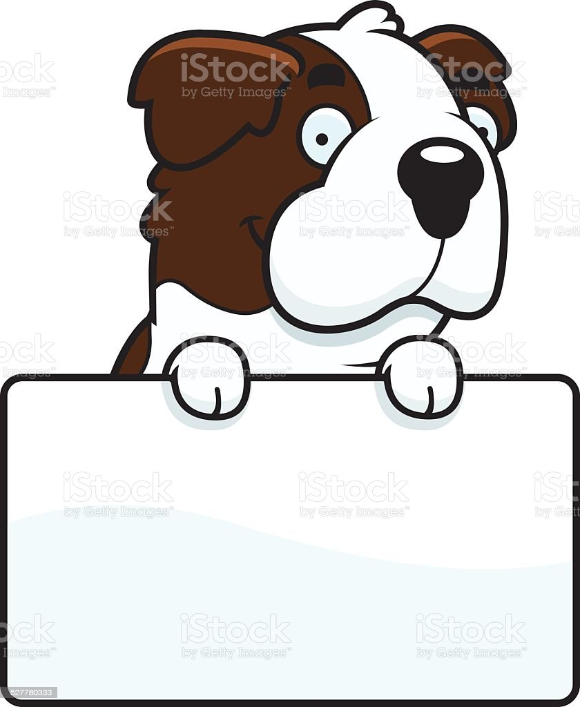 Cartoon Saint Bernard Sign vector art illustration