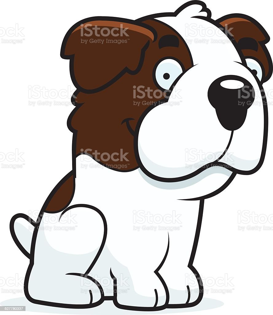 Cartoon Saint Bernard Sitting vector art illustration