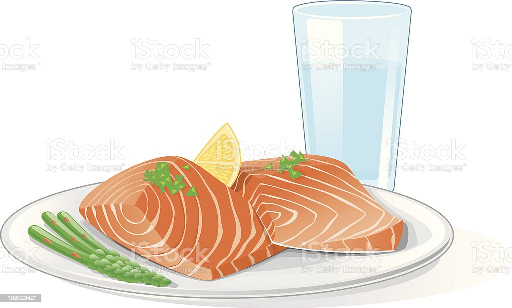Cartoon Salmon And Asparagus With Glass Of Water Stock