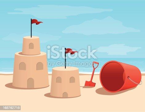 istock Cartoon Sand Castle At the Beach 165762715