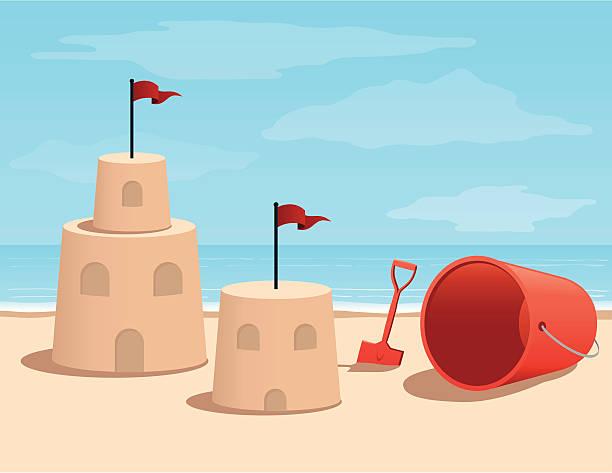 illustrations, cliparts, dessins animés et icônes de dessin animé château de sable sur la plage - chateau de sable