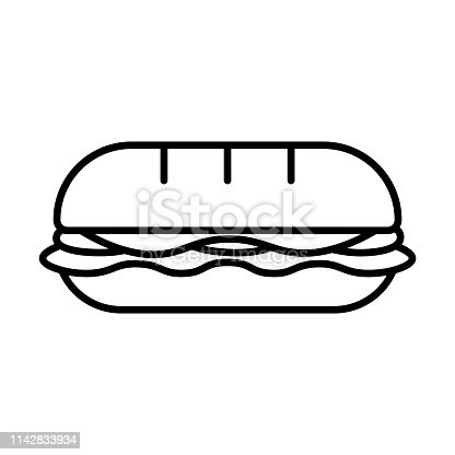 Vector Cartoon Sandwich Icon Isolated On White Background