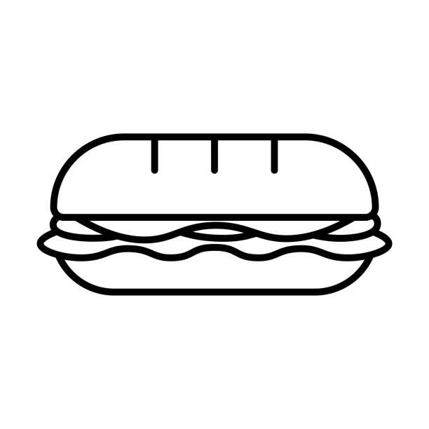illustrazioni stock, clip art, cartoni animati e icone di tendenza di cartoon sandwich icon isolated on white background - panino