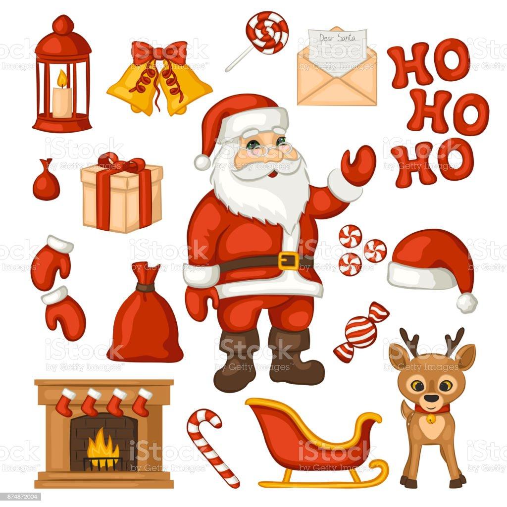 Cartoon Weihnachtsmann Und Eine Reihe Von Traditionellen