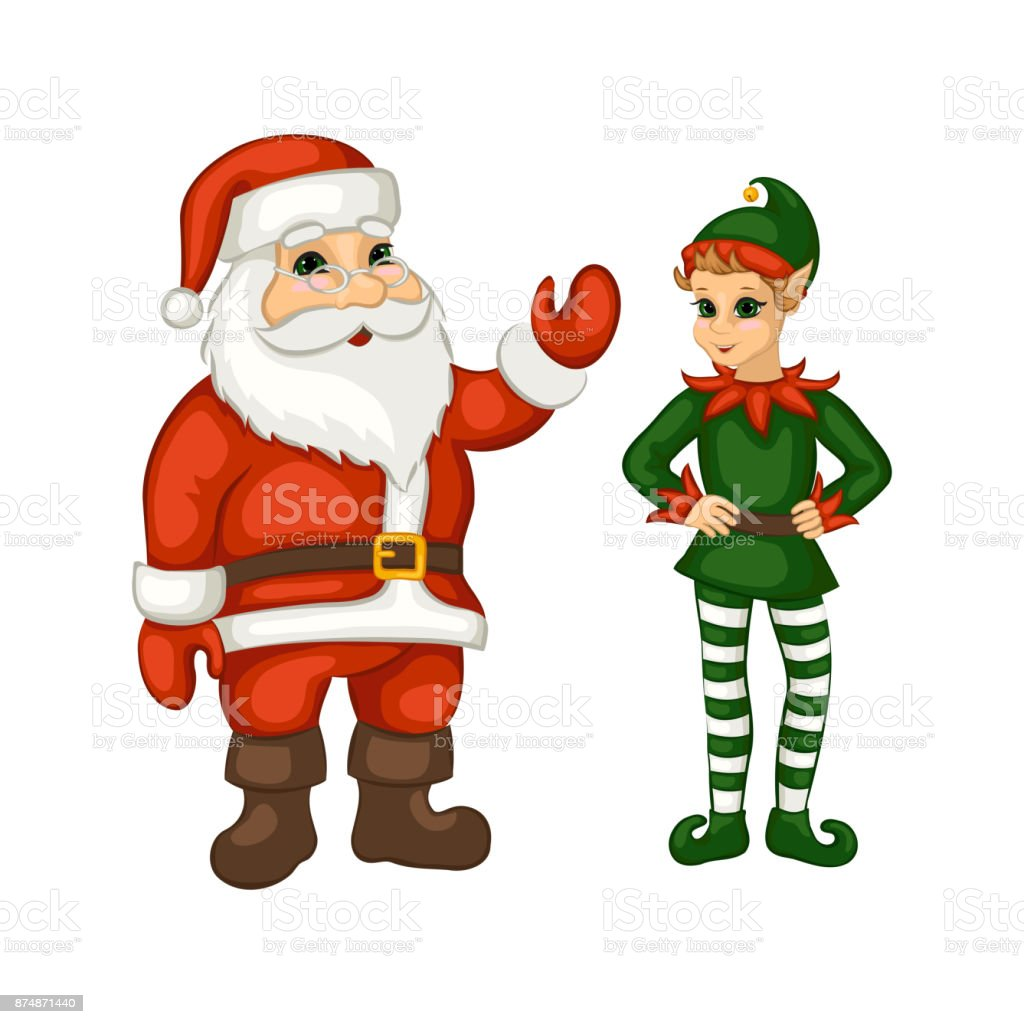 Cartoon Santa Claus And Christmas Elf Stock Vector Art & More Images ...
