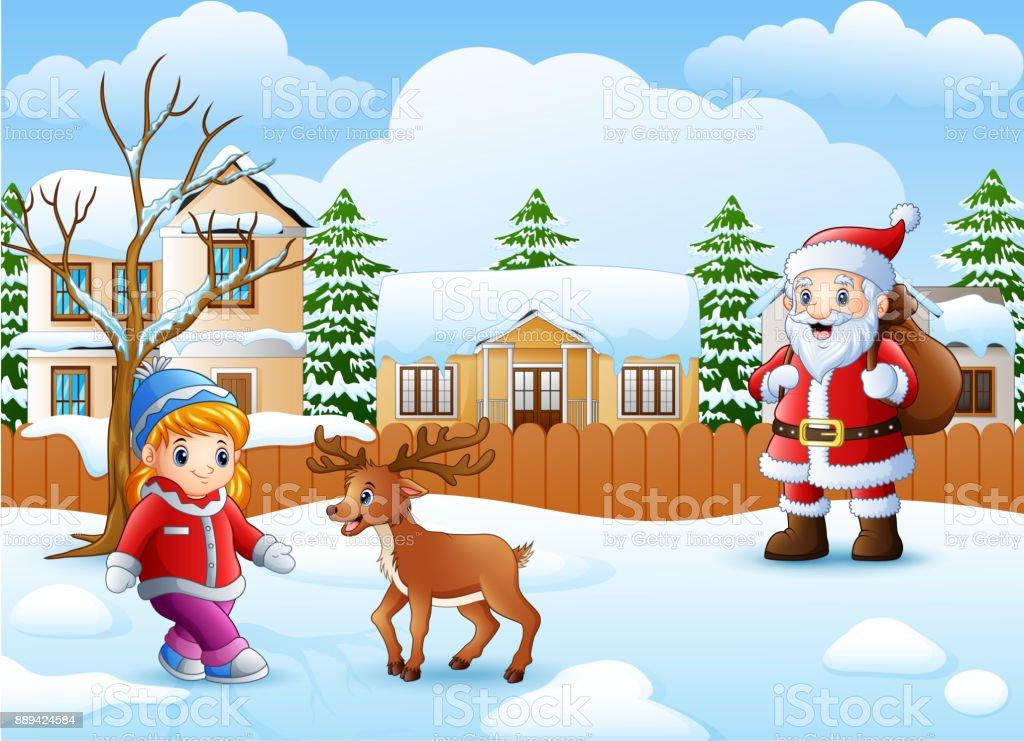 Père Noël Du Dessin Animé Et La Petite Fille Dans Le Village