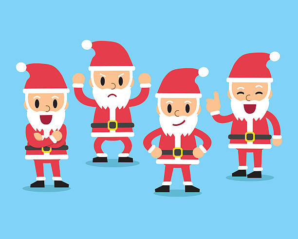 cartoon santa claus character poses set - old man funny pictures stock illustrations
