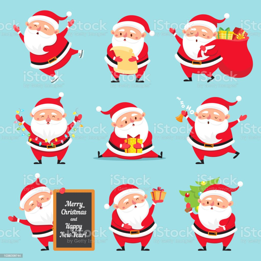 Christmas Images Free Cartoon.Cartoon Santa Claus Christmas Holiday Greeting Card Character Funny Winter Holidays Characters Flat Vector Set Stock Illustration Download Image Now