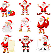 Vector illustration of Cartoon Santa Claus collection set