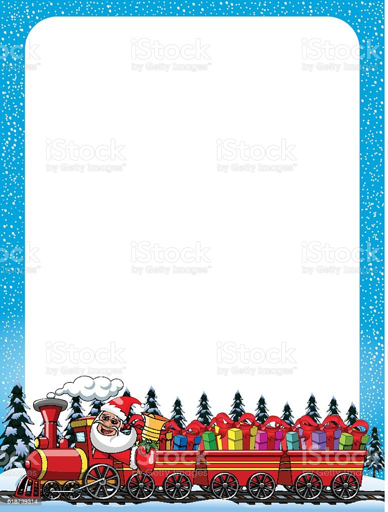 Cartoon Santa Claus Delivering Gifts Driving Steam Locomotive ...