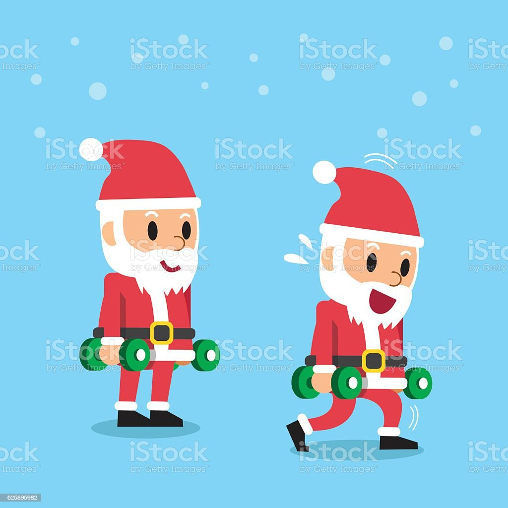 Cartoon santa claus doing dumbbell lunge exercise step training vector art illustration