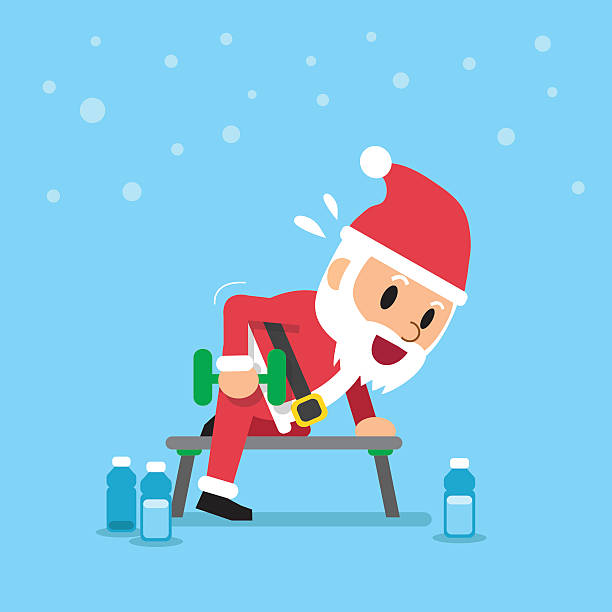 Cartoon santa claus doing dumbbell row exercise Cartoon santa claus doing dumbbell row exercise for design. one senior man only illustrations stock illustrations