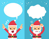 Cartoon Santa Claus expressing different emotions with speech bubbles for design.