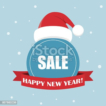 Cartoon Santa Claus hat for Your Christmas and New Year greeting Design. Cartoon holiday design. Christmas sale badge with Santa Claus hat and ribbon. Happy New Year sale vector illustration.