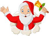 Vector illustration of Cartoon santa claus holding a bell