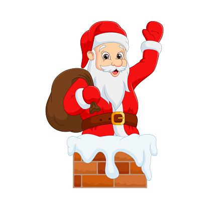 Cartoon Santa Claus in a chimney waving hand