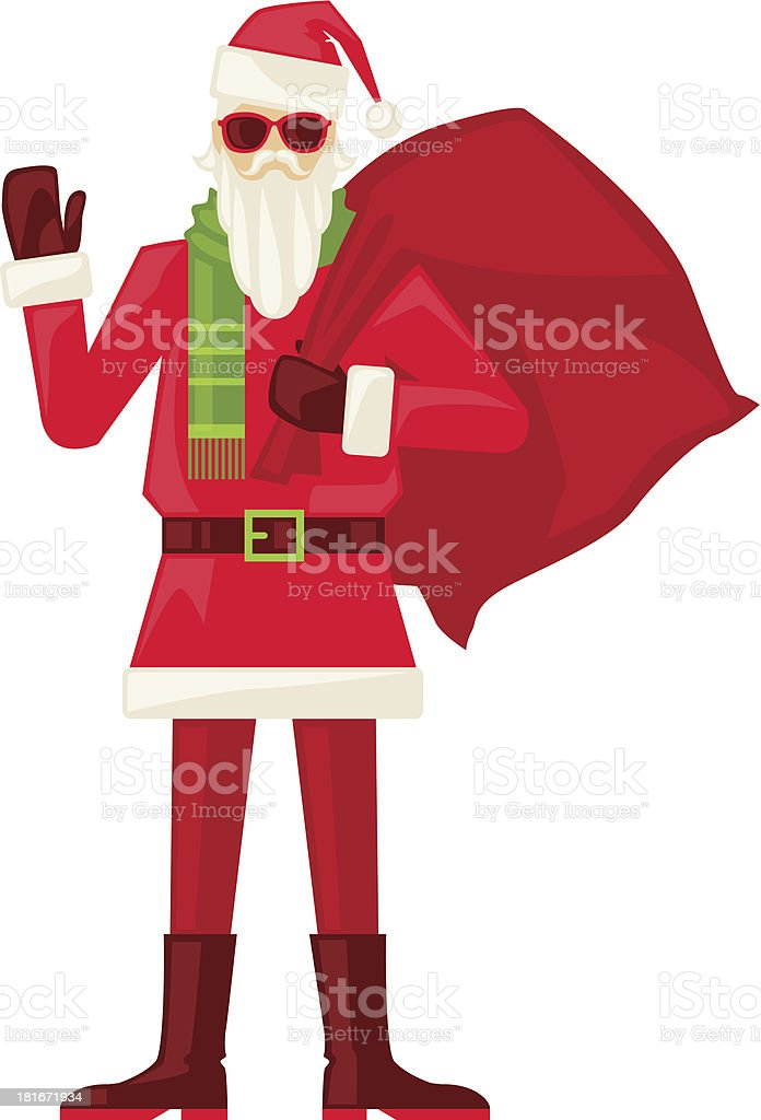 Cartoon Santa Claus in sunglasses isolated. royalty-free stock vector art