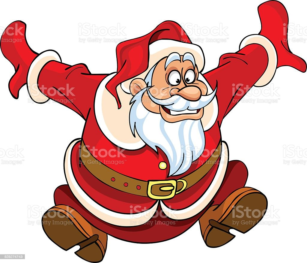 Cartoon santa claus jumping with joy stock vector art