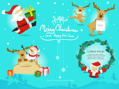 cartoon santa claus reindeer snowman and leaf on line background,vector and doodle style
