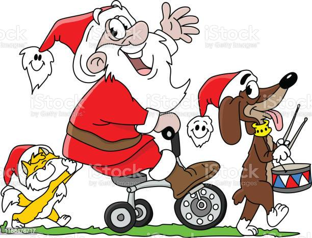 Cartoon santa claus riding a tricycle together with his cat and his vector id1188476717?b=1&k=6&m=1188476717&s=612x612&h=yxn23na6vllfmpidjr5rt6uviald8qnna6gzikfehyy=