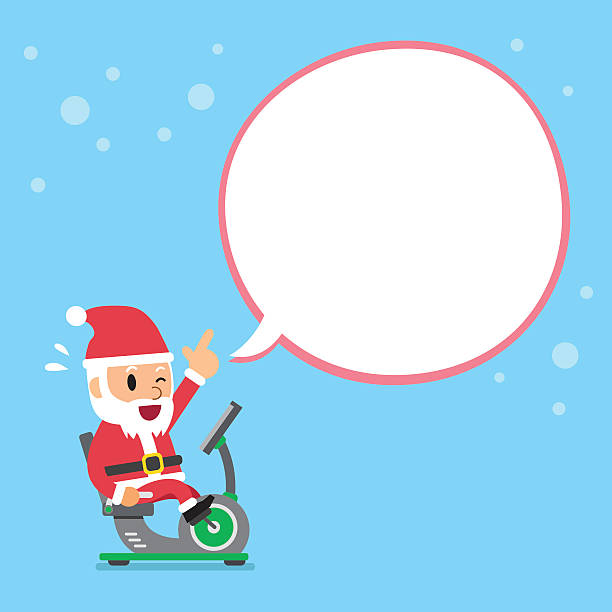 cartoon santa claus riding recumbent exercise bike white speech bubble - old man on bike stock illustrations, clip art, cartoons, & icons
