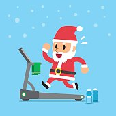 istock Cartoon santa claus running on treadmill 624086922