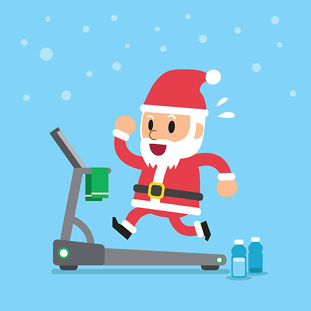 Cartoon santa claus running on treadmill Cartoon santa claus running on treadmill for design. one senior man only illustrations stock illustrations