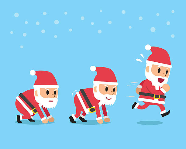 Cartoon santa claus running step Cartoon santa claus running step for design. one senior man only illustrations stock illustrations