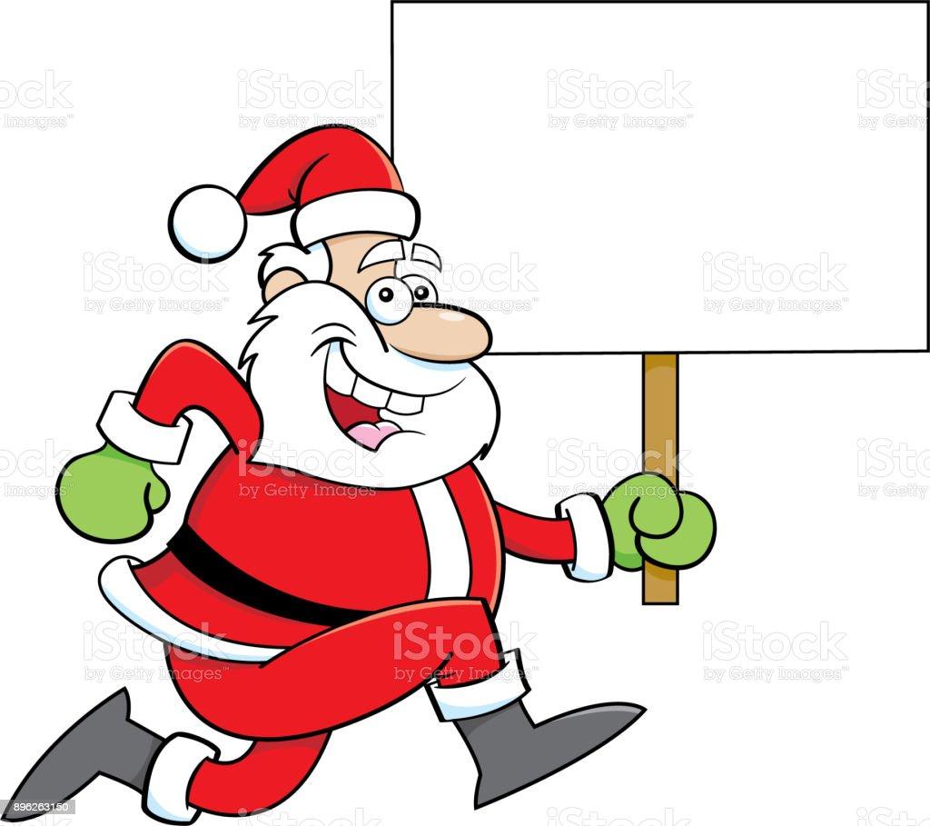 Dessin Animé Noël Tout En Tenant Une Pancarte Vecteurs