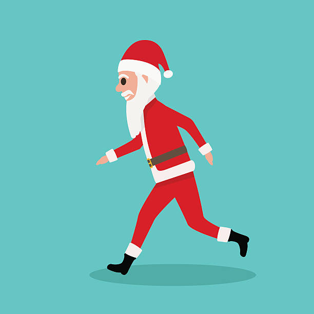 cartoon santa claus runs to children at christmas - old man funny pictures stock illustrations