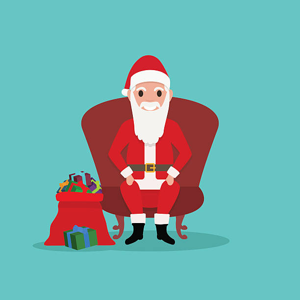cartoon santa claus sits in chair with bag gifts - old man sitting chair drawing stock illustrations, clip art, cartoons, & icons