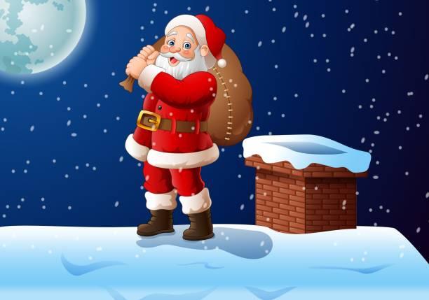 cartoon weihnachtsmann stehend auf dem dach mit einer großen tasche - kaminverkleidungen stock-grafiken, -clipart, -cartoons und -symbole