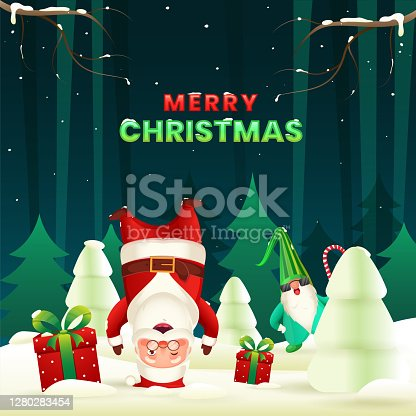 istock Cartoon Santa Claus Standing Upside Down with His Head, Gnome Character, Gift Boxes and Snowy Xmas Tree on Green Background for Merry Christmas Celebration. 1280283454