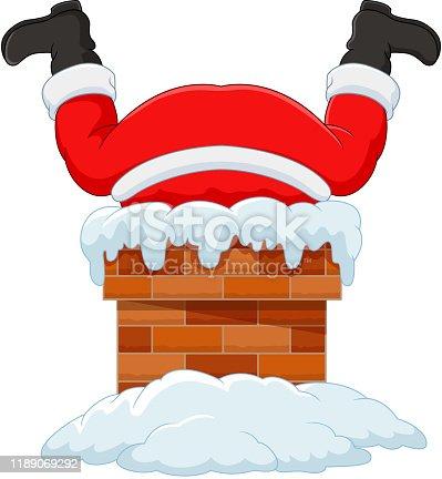 istock Cartoon santa claus stuck in the chimney 1189069292