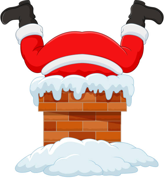 cartoon santa claus steckte im schornstein - kamin stock-grafiken, -clipart, -cartoons und -symbole