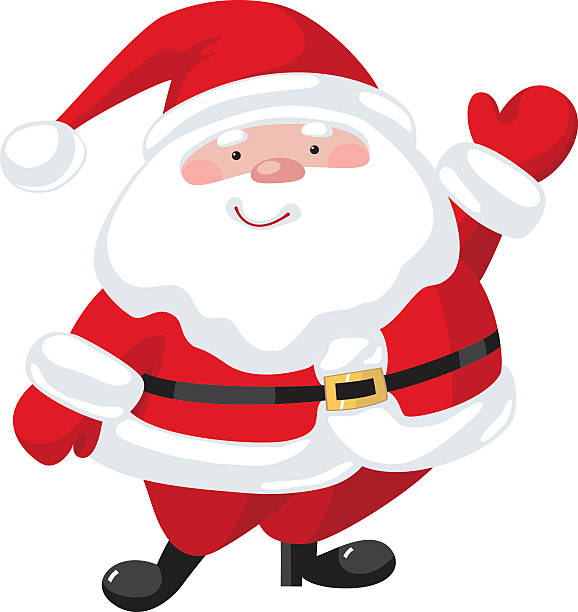 Cartoon Santa Claus Santa Claus with a raised right hand. Cartoon character one senior man only illustrations stock illustrations