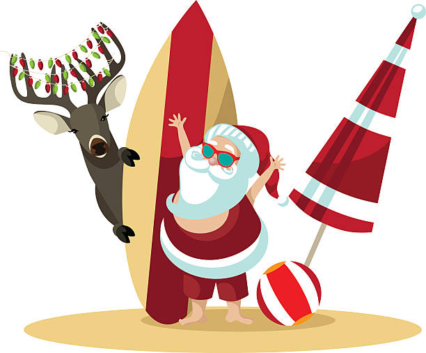 cartoon santa claus waves hello from the beach - old man sunglasses stock illustrations, clip art, cartoons, & icons