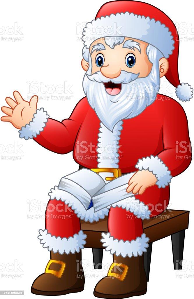 Imagenes De Papa Noel Animado.Ilustracion De Dibujos Animados De Papa Noel Saludando Con