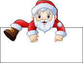 Vector illustration of Cartoon santa claus with a blank sign